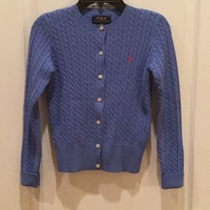 Ralph Lauren Polo Girls Sweater Periwinkle Blue
